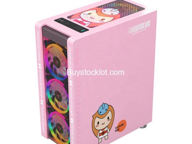 New model desktop ATX computer gaming case Pink with 3 RGB Fanswith240 Water-cooledSide transparent  - 1/6
