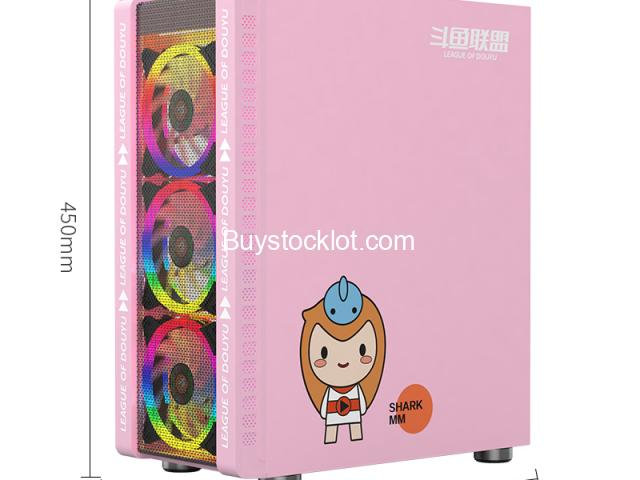 New model desktop ATX computer gaming case Pink with 3 RGB Fanswith240 Water-cooledSide transparent  - 2/6