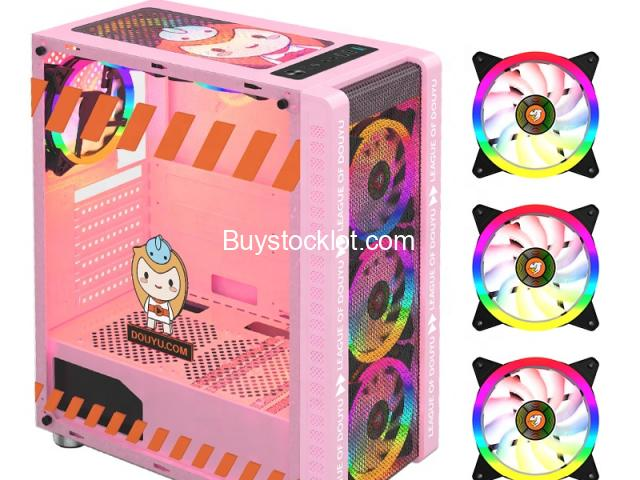 New model desktop ATX computer gaming case Pink with 3 RGB Fanswith240 Water-cooledSide transparent  - 3/6
