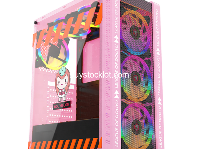 New model desktop ATX computer gaming case Pink with 3 RGB Fanswith240 Water-cooledSide transparent  - 5/6
