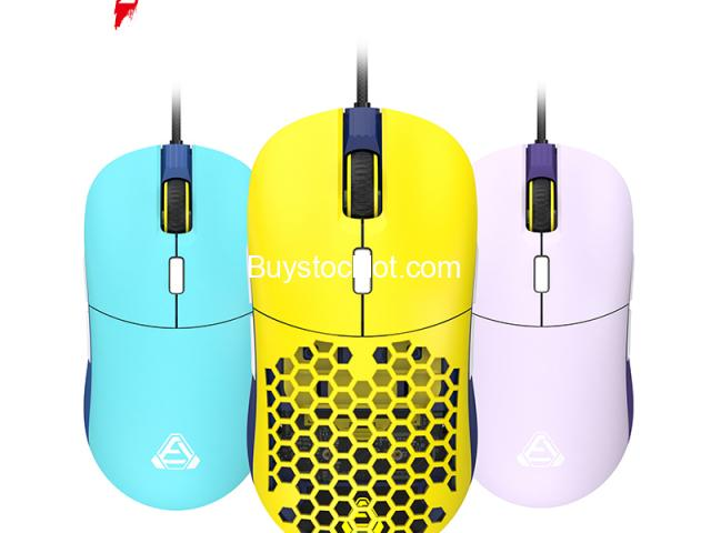 F15 RGB Honeycomb Gaming Mouse Ergonomic Design, Programmable Buttons 16000DPI Wired Lightweight Mic - 1/6